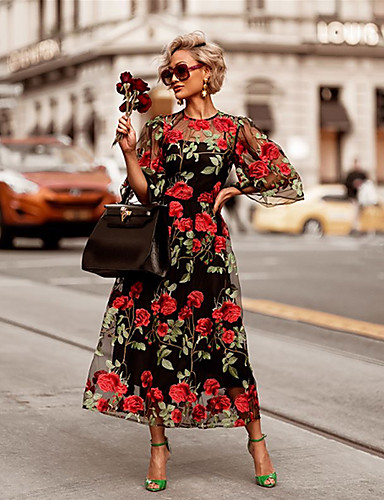 billige Kjoler-Dame Grunnleggende Elegant Swing Kjole - Blomstret, Blonde Lapper Broderi Maksi Rose