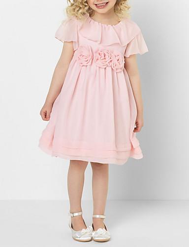 Çocuklar Genç Kız Tatlı Solid Kısa Kollu Diz-boyu Elbise Doğal Pembe / Pamuklu