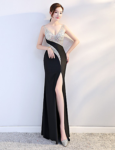 cheap Pre Sale-Sheath / Column Plunging Neck Floor Length Stretch Satin Dress with Sequin / Split Front by LAN TING Express