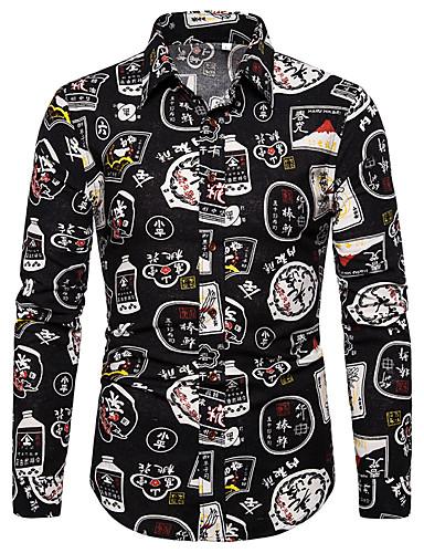 Erkek Gömlek Desen, Zıt Renkli / Grafik Sokak Şıklığı / Zarif Siyah