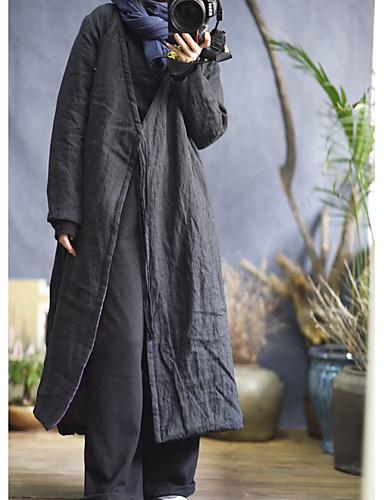 abordables Manteaux & Vestes Femme-Femme Quotidien Basique Hiver Longue Manteau, Couleur Pleine Sans col Manches Longues Coton Mosaïque Noir / Violet Taille unique