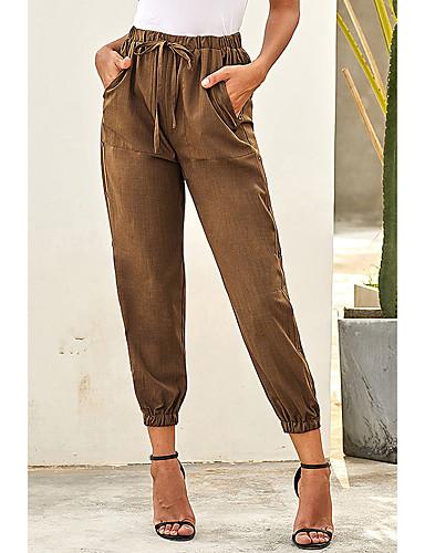 abordables Pantalons Femme-Femme Ample Pantalon cargo Pantalon - Couleur Pleine Taille haute Marron Vert Noir M L XL