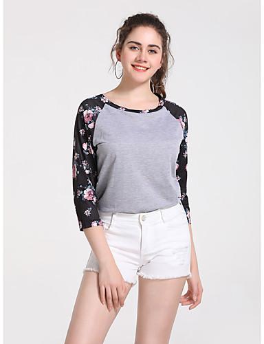 billige Topper til damer-T-skjorte Dame - Blomstret / Fargeblokk, Lapper / Trykt mønster Grunnleggende Grå
