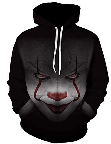 cheap Happy Halloween-Men's Plus Size Active Long Sleeve Hoodie - Geometric / 3D Print Hooded Black 4XL / Fall / Winter
