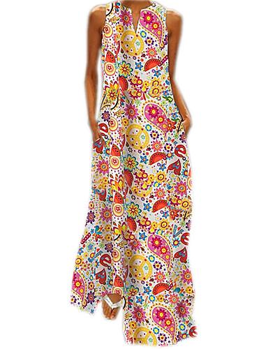 voordelige Maxi-jurken-Dames Recht Jurk - Geometrisch Maxi