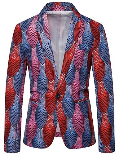 voordelige Herenblazers & kostuums-Heren Blazer, Gestreept V-hals Katoen / Polyester blauw