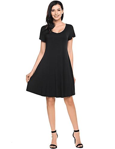Kadın's Temel A Şekilli Elbise - Solid Diz-boyu