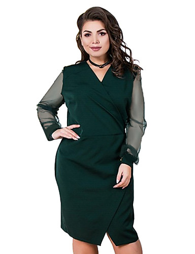 voordelige Grote maten jurken-Dames Standaard A-lijn Jurk - Effen Boven de knie