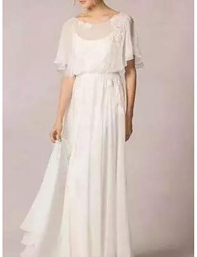 abordables robe mariage civil-Trapèze / Deux Pièces Bijoux Traîne Brosse Mousseline de soie Robes de mariée sur mesure avec par LAN TING Express
