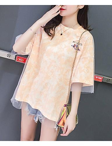 abordables Hauts pour Femme-Tee-shirt Femme, Couleur Pleine Mosaïque Chic de Rue Orange