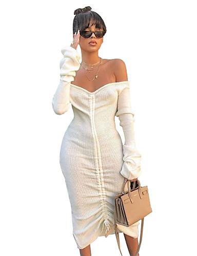 abordables Robes Femme-Femme Chic de Rue Sophistiqué Midi Moulante Gaine Robe - Dos Nu Plissé, Couleur Pleine Rayé Blanc Blanche S M L Manches Longues