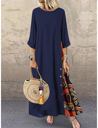 hesapli Print Dresses-Kadın's Boho Çan Elbise - Zıt Renkli Maksi