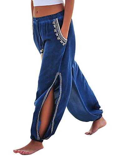 abordables Pantalons Femme-Femme Bohème Ample Sarouel Pantalon - Couleur Pleine / Tartan Bleu & blanc, Découpé / Fendu Vert Claire Vin Bleu Roi M L XL