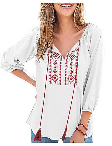 abordables Hauts pour Femmes-Tee-shirt Femme, Géométrique Noir