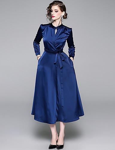 billige Kjoler-Dame Vintage Elegant A-linje Kjole - Ensfarget, Utskjæring Blondér Maksi