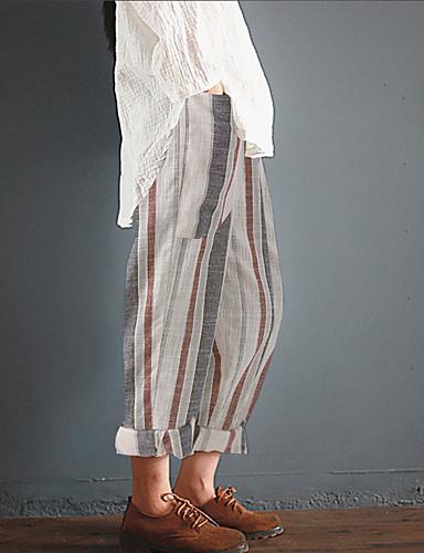 abordables Pantalons Femme-Femme Basique Ample Chino Pantalon - Rayé Bandes Taille haute Noir Bleu Arc-en-ciel S M L