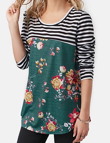 abordables Hauts pour Femmes-Tee-shirt Femme, Fleur Mosaïque / Imprimé Basique Marguerite Bleu