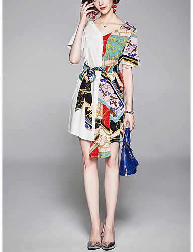 billige Kjoler-Dame Sofistikert Elegant A-linje Skjede Skjorte Kjole - Blomstret Leopard, Blondér Lapper Ovenfor knéet