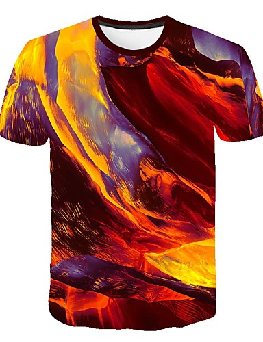 Erkek Tişört Desen, Zıt Renkli / 3D / Grafik Sokak Şıklığı / Abartılı Gökküşağı