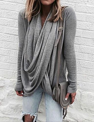 abordables Hauts pour Femme-Tee-shirt Femme, Couleur Pleine Plissé Basique / Chic de Rue Gris Clair