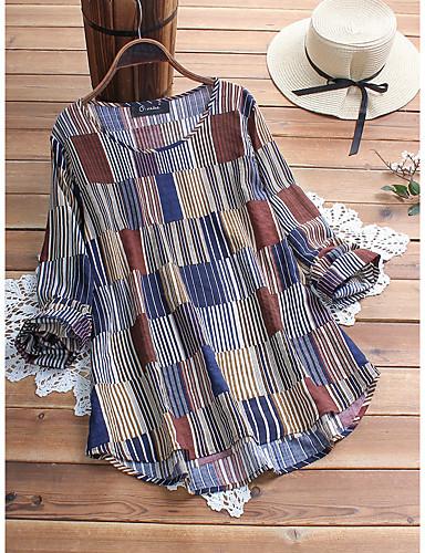 billige Topper til damer-Skjorte Dame - Stripet, Lapper / Trykt mønster Grunnleggende Kirsebær Blå