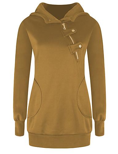 billige Dametopper-Dame Grunnleggende Hoodie Jacket Ensfarget