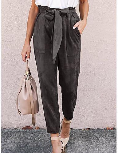 abordables Pantalons Femme-Femme Chic de Rue Chino / Culotte Bouffante Pantalon - Couleur Pleine Mosaïque Noir Vert Gris S M L