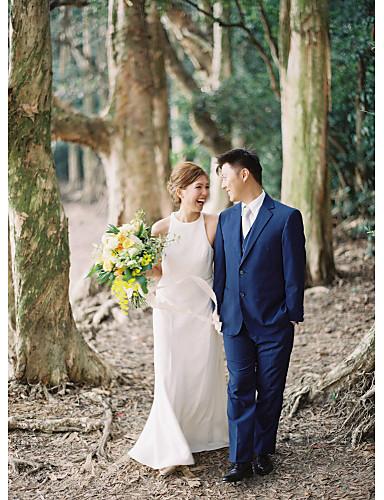 abordables robe mariage civil-Fourreau / Colonne Licou Traîne Brosse Nylon / Satin Robes de mariée sur mesure avec Drapée par LAN TING Express / Joli Dos