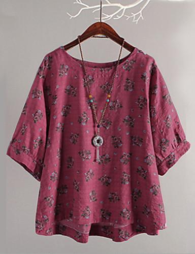 abordables Hauts pour Femme-Tee-shirt Femme, Fleur Imprimé Basique Fuchsia