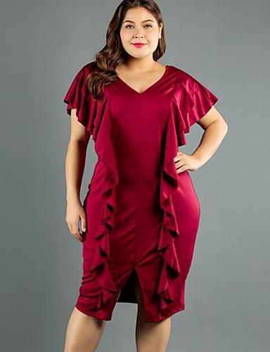 voordelige Grote maten jurken-Dames Bodycon Jurk - Effen Midi