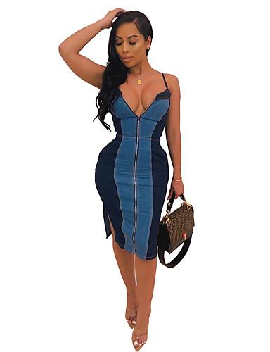 Kadın's Temel Kılıf Elbise - Solid, Bölünmüş Kırk Yama Diz-boyu