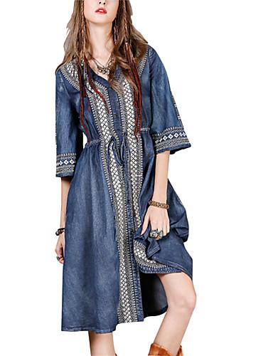abordables Robes Femme-Femme Mi-long Trapèze Robe Géométrique Bleu M L XL Demi Manches