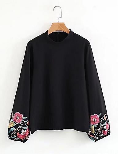abordables Hauts pour Femme-Tee-shirt Femme, Fleur Noir