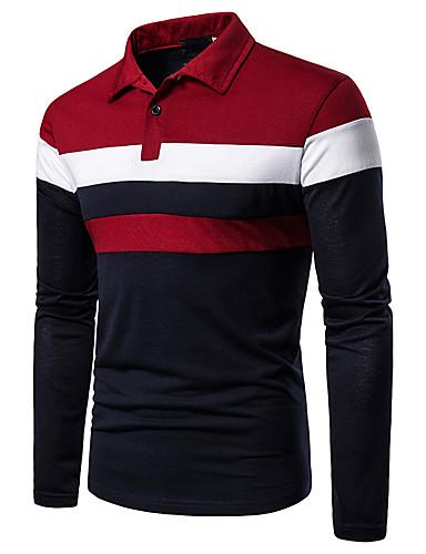 billige Trendy topper-Polo Herre - Fargeblokk, Lapper Grunnleggende Svart & Rød Rød
