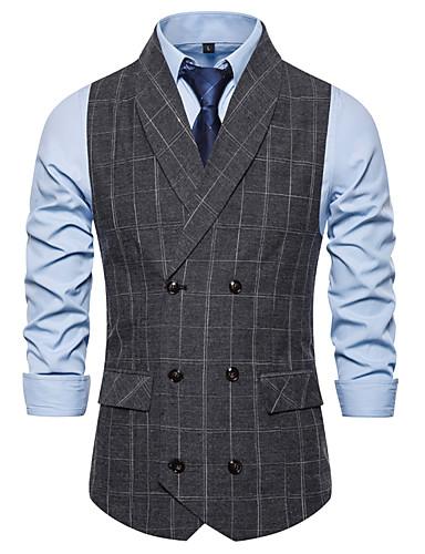 voordelige Herenblazers & kostuums-Heren Vest, Blokken Sjaalrevers Katoen / Polyester Zwart / Donkergrijs / Slank