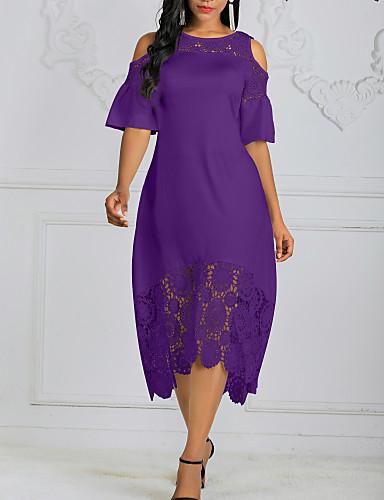 cheap Women's Dresses-Women's Plus Size Asymmetrical A Line Dress - Solid Colored Lace Black White Purple XL XXL XXXL XXXXL