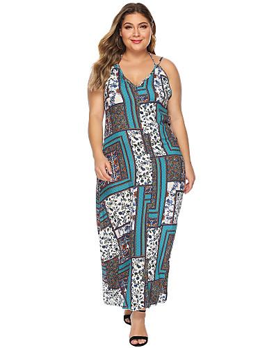 voordelige Grote maten jurken-Dames Vintage Schede Jurk - Tribal, Print Maxi