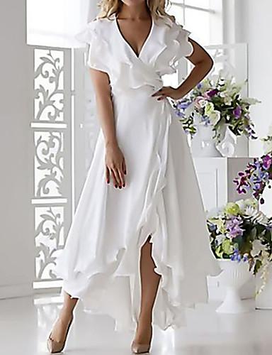 billige Vakre kjoler-Dame Store størrelser Sexy A-linje Kjole - Ensfarget, Drapering Wrap V-hals Midi