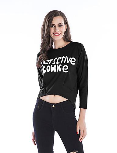 billige Dametopper-T-skjorte Dame - Bokstaver Gatemote / Elegant Svart