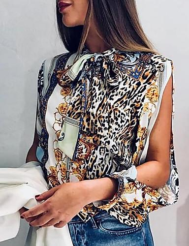 billige Topper til damer-Skjorte Dame - Leopard, Trykt mønster Grunnleggende Regnbue