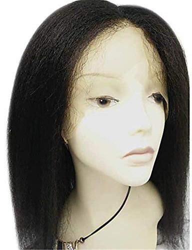 abordables Perruques en Dentelle Densité 250 %-Perruque Cheveux Naturel Rémy Full Lace Cheveux Brésiliens Droit crépu Noir Partie médiane 130% Noir Naturel Femme Court Perruque Naturelle Dentelle beikashang