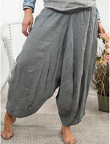abordables Pantalons Femme-Femme Basique Sarouel Pantalon - Couleur Pleine Gris Kaki L XL XXL