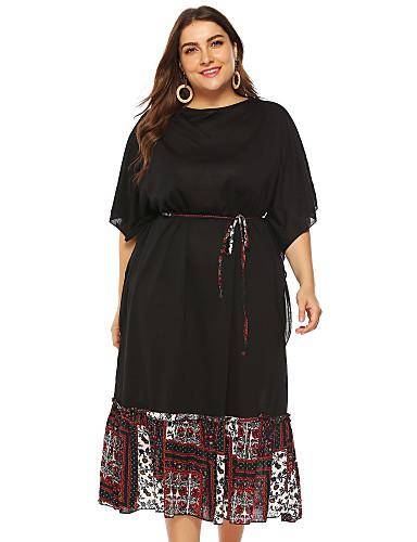 abordables Robes Femme-Femme Rétro Vintage Midi Gaine Robe Couleur Pleine Noir L XL XXL Demi Manches