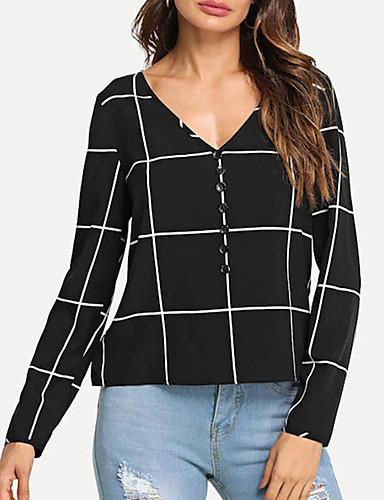 abordables Hauts pour Femme-Tee-shirt Femme, Damier Noir