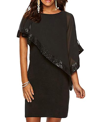 hesapli Mini Elbiseler-Kadın's Büyük Bedenler Temel İnce Kılıf Elbise - Solid, Payetler Diz üstü