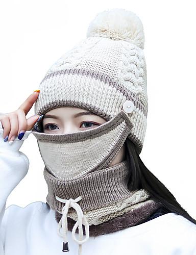 abordables Accessoires Femme-Femme Acrylique Actif Basique Le style mignon Ski Couleur Pleine Rayé Marron Bleu Marine Beige Hiver