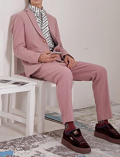 billige Herreblazere og jakkesæt-Herre Jakkesæt, Ensfarvet Hakrevers Polyester Lyserød US36 / UK36 / EU44 / US38 / UK38 / EU46 / US40 / UK40 / EU48