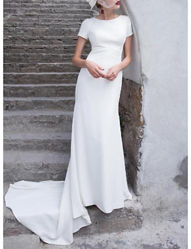 billige Bryllupskjoler 2019-Tube / kolonne Besmykket Svøpeslep Sateng Made-To-Measure Brudekjoler med Sløyfe(r) av LAN TING Express