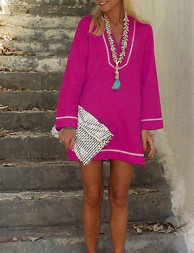 abordables Robes Femme-Femme Mini Tee Shirt Robe Couleur Pleine Vin Bleu clair Jaune S M XL Manches Longues