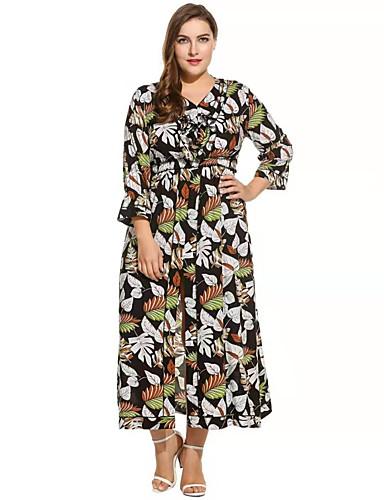 voordelige Maxi-jurken-Dames Boho Verfijnd Recht Abaya Kaftan Jurk - Bloemen, Print Maxi